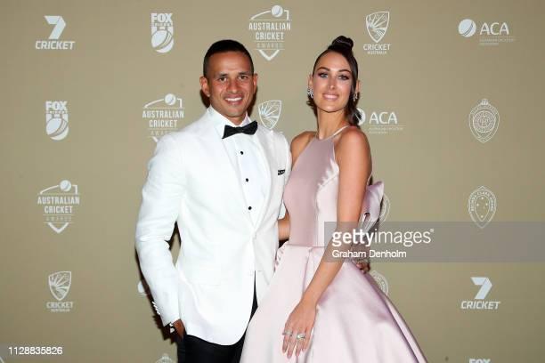 Usman Khawaja and Rachel Khawaja attend the 2019 Australian Cricket Awards at Crown Palladium on February 11 2019 in Melbourne Australia