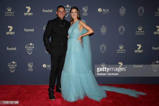 Usman Khawaja and wife Rachel Khawaja arrive ahead of the 2020 Cricket Australia Awards at Crown Palladium on February 10 2020 in Melbourne Australia