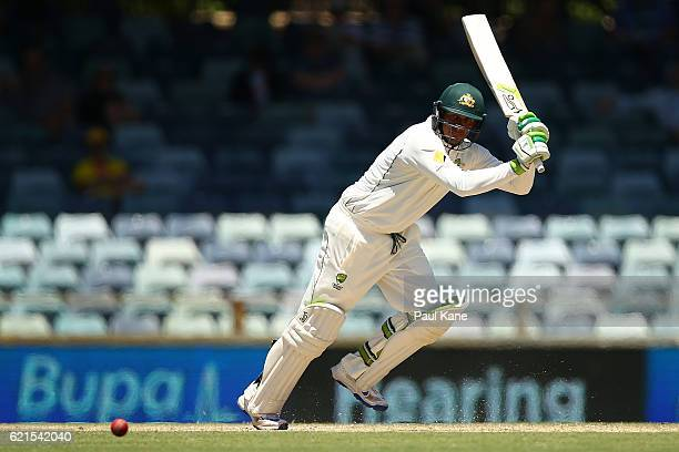 Usman Khawaja of Australia bats during day five of the First Test match between Australia and South Africa at the WACA on November 7 2016 in Perth...