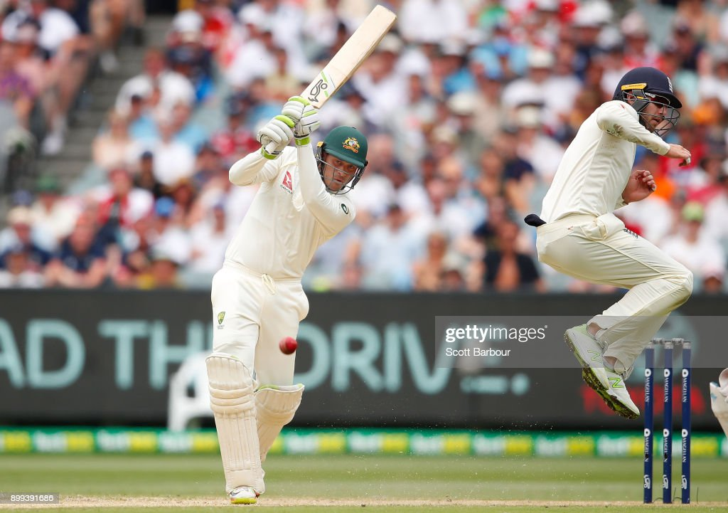 Usman Khawaja of Australia bats during day four of the Fourth Test Match in the 2017/18 Ashes series between Australia and England at Melbourne Cricket Ground on December 29, 2017 in Melbourne, Australia.