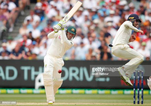 Usman Khawaja of Australia bats during day four of the Fourth Test Match in the 2017/18 Ashes series between Australia and England at Melbourne...
