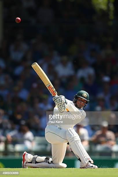Usman Khawaja of Australia bats during day one of the second Test match between Australia and New Zealand at WACA on November 13 2015 in Perth...