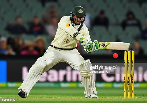 Usman Khawaja of Australia bats during day one of the Third Test match between Australia and South Africa at Adelaide Oval on November 24 2016 in...