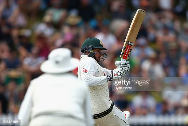 Usman Khawaja of Australia bats during day two of the Test match between New Zealand and Australia at Basin Reserve on February 13 2016 in Wellington...