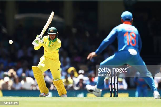 Usman Khawaja of Australia bats during game one of the One Day International series between Australia and India at Sydney Cricket Ground on January...