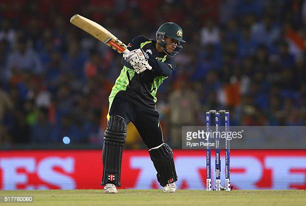 Usman Khawaja of Australia bats during the ICC WT20 India Group 2 match between India and Australia at IS Bindra Stadium on March 27 2016 in Mohali...