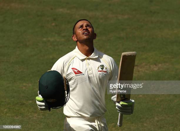 Usman Khawaja of Australia celebrates after reaching his century during day five of the First Test match in the series between Australia and Pakistan...