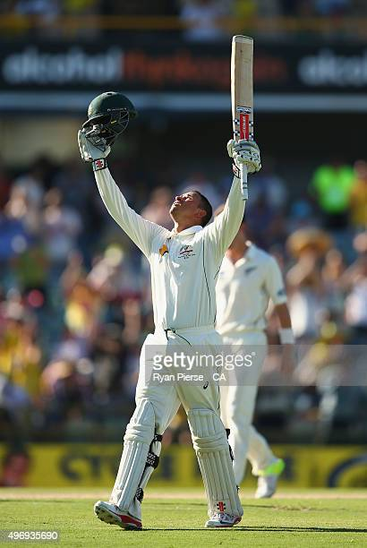 Usman Khawaja of Australia celebrates after reaching his century during day one of the second Test match between Australia and New Zealand at WACA on...