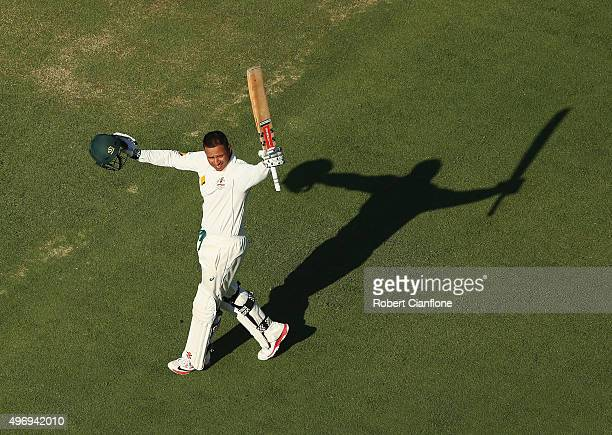 Usman Khawaja of Australia celebrates after reaching his century during day one of the second Test match between Australia and New Zealand at the...