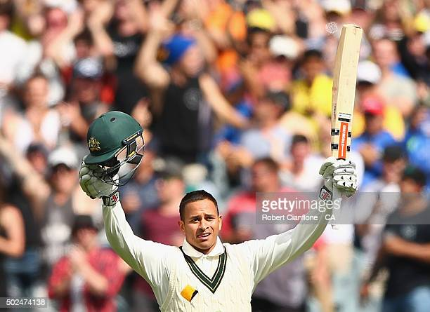 Usman Khawaja of Australia celebrates after reaching his century during day one of the Second Test match between Australia and the West Indies at the...