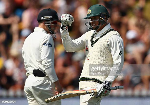 Usman Khawaja of Australia celebrates after reaching his century during day two of the Test match between New Zealand and Australia at Basin Reserve...