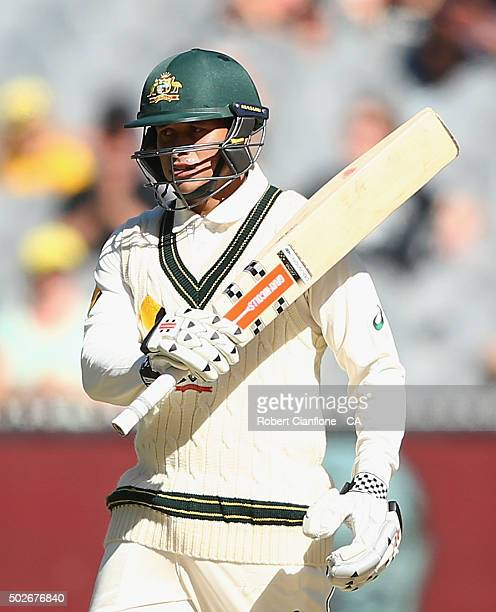 Usman Khawaja of Australia celebrates after reaching his half century during day three of the Second Test match between Australia and the West Indies...