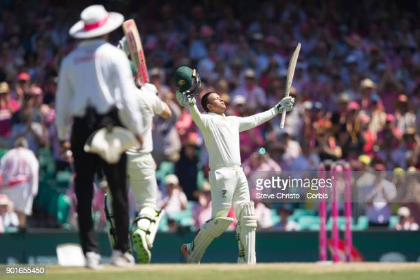 Usman Khawaja of Australia celebrates his century during day three of the Fifth Test match in the 2017/18 Ashes Series between Australia and England...