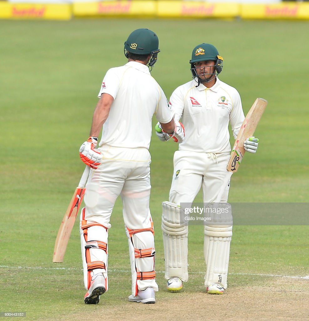 Usman Khawaja of Australia celebrates scoring a half century during day 3 of the 2nd Sunfoil Test match between South Africa and Australia at St Georges Park on March 11, 2018 in Port Elizabeth, South Africa.