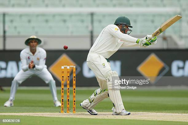 Usman Khawaja of Australia is caught out for 97 from this stroke during day four of the Second Test match between Australia and Pakistan at Melbourne...