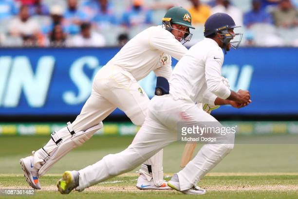Usman Khawaja of Australia lis caught by Mayank Agarwal of India during day three of the Third Test match in the series between Australia and India...