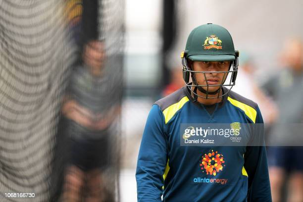 Usman Khawaja of Australia looks on during an Australian nets session at Adelaide Oval on December 4 2018 in Adelaide Australia