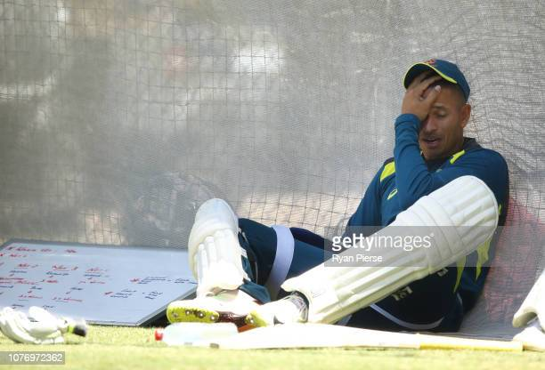 Usman Khawaja of Australia looks on during an Australian nets session at Adelaide Oval on December 04 2018 in Adelaide Australia