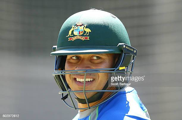 Usman Khawaja of Australia looks on during an Australian nets session at Melbourne Cricket Ground on December 24 2015 in Melbourne Australia