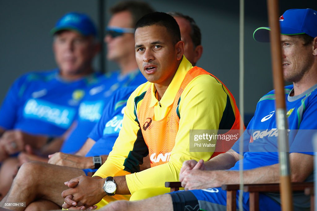 Usman Khawaja of Australia looks on from the sheds during the One Day International match between New Zealand and Australia at Eden Park on February 3, 2016 in Auckland, New Zealand.