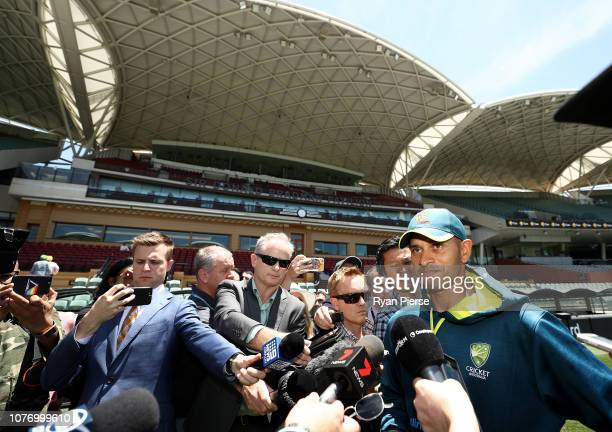 Usman Khawaja of Australia makes a statement to the media regarding the arrest of his brother during an Australian nets session at Adelaide Oval on...