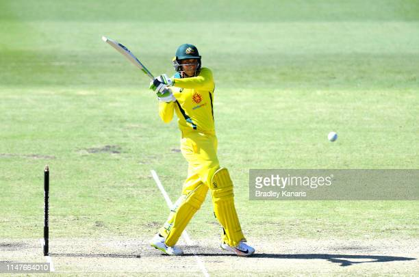 Usman Khawaja of Australia plays a pull shot during the Cricket World Cup One Day Practice Match between Australia and New Zealand at Allan Border...