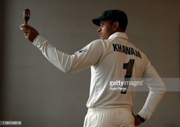 Usman Khawaja of Australia poses during the Australia Ashes Squad Portrait Session on July 28 2019 in Birmingham England