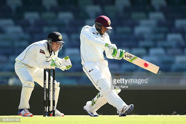Usman Khawaja of Queensland bats during day three of the Sheffield Shield match between Western Australia and Queensland at WACA on December 7 2016...