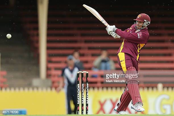 Usman Khawaja of Queensland bats during the Matador BBQs Cup match between Queensland and Victoria at North Sydney Oval on October 14 2014 in Sydney...