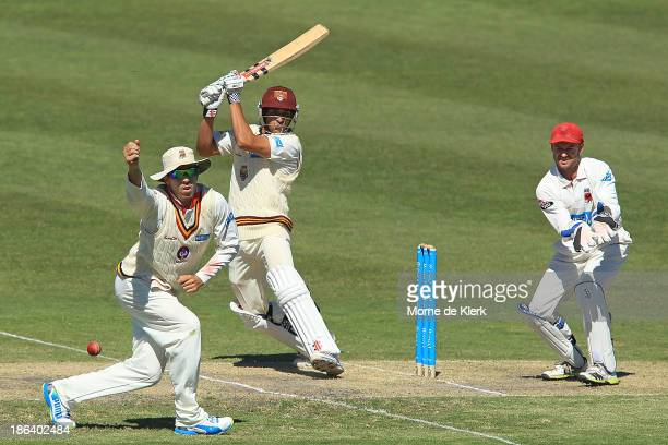 Usman Khawaja of the Bulls bats during day two of the Sheffield Shield match between the South Australia Redbacks and the Queensland Bulls at Glenelg...