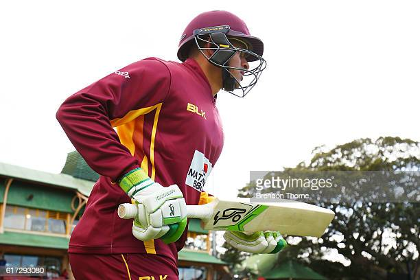Usman Khawaja of the Bulls runs out to bat during the Matador BBQs One Day Cup Final match between Queensland and New South Wales at North Sydney...