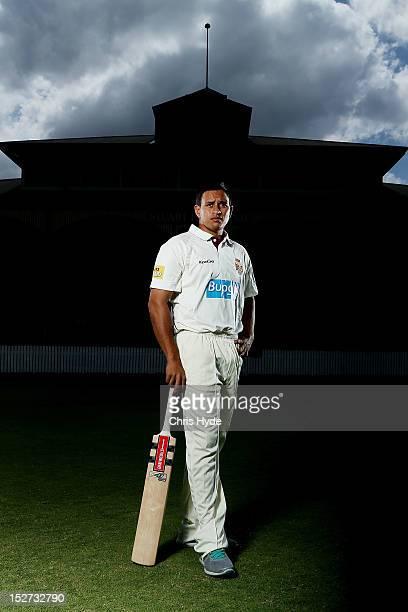 Usman Khawaja of the Queensland Bulls poses during a portrait shoot at Allan Border Field on September 25 2012 in Brisbane Australia