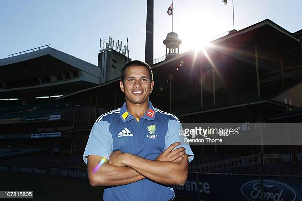 Usman Khawaja poses after being selected in the squad for the fifth Ashes test against England at the SCG on January 3rd following a press conference...