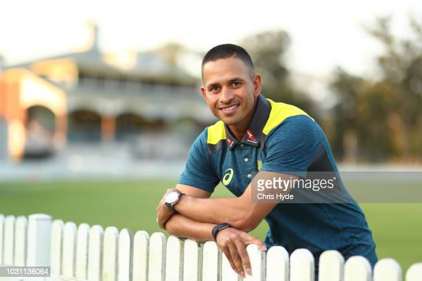 Usman Khawaja poses after the Australia Test squad announcement at at Allan Border Field on September 11 2018 in Brisbane Australia