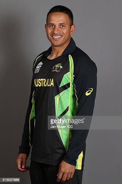 Usman Khawaja poses during the Australia headshots session ahead of the ICC World Twenty20 tournament on March 12 2016 in Kolkata India
