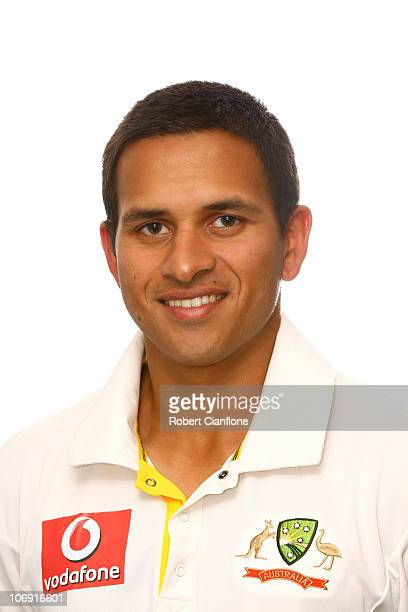 Usman Khawaja poses for a portrait during the official Australian cricket team headshots session on November 16 2010 in Melbourne Australia