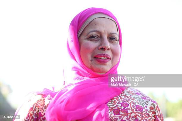 Usman Khawaja's mum poses in pink during day three of the Fifth Test match in the 2017/18 Ashes Series between Australia and England at Sydney...