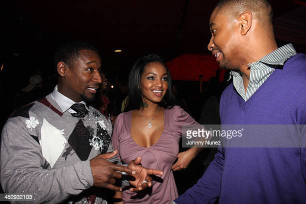 Usman Sharif Angel Lola Luv and Kevin Phillips attend the after party for the premiere of Notorious at the Roseland Ballroom on January 7 2009 in New...