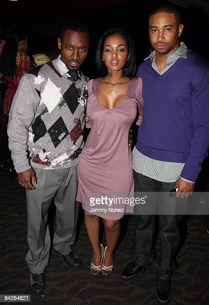 Usman Sharif Angel Lola Luv and Kevin Phillips attend the after party for the premiere of 'Notorious' at the Roseland Ballroom on January 7 2009 in...