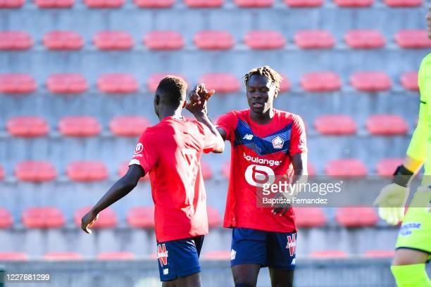 Usman SIMBAKOLI of Lille celebrate his goal during the Friendly match between Lyon and Mouscron on July 18 2020 in Mouscron Belgium