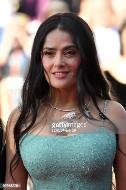 USMexican actress Salma Hayek Pinault walk the red carpet in protest of the lack of female filmmakers honored throughout the history of the festival...