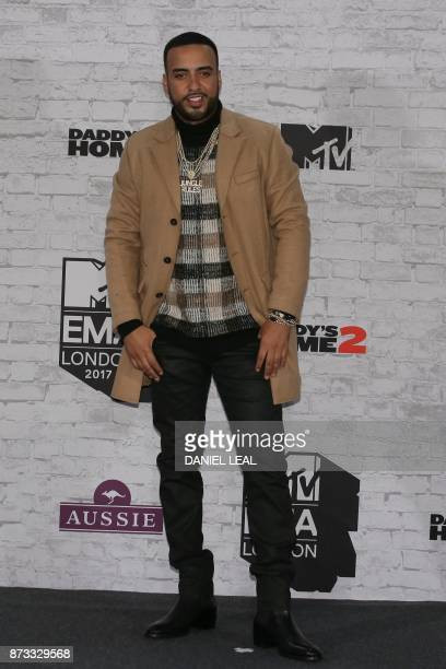 USMoroccan hiphop artist French Montana poses in the winners' area arriving to attend the 2017 MTV Europe Music Awards at Wembley Arena in London on...