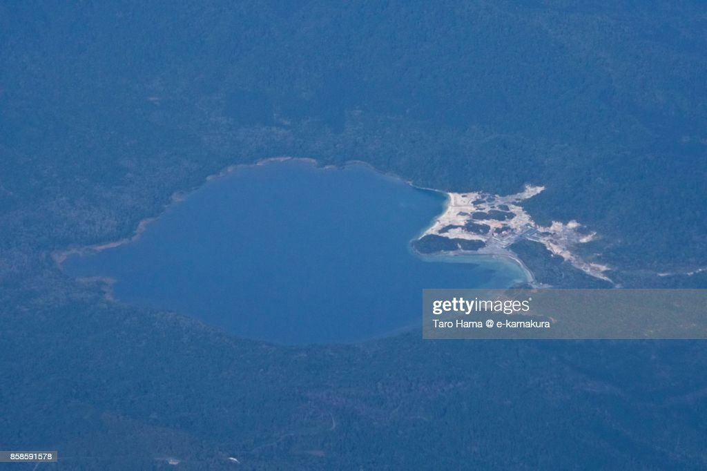 Usori lake and Mount Osore daytime aerial view from airplane : Stock-Foto