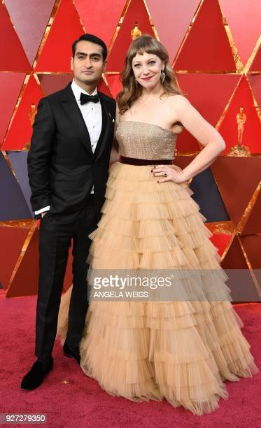 USPakistani standup comedian Kumail Nanjiani and his wife Emily V Gordon arrive for the 90th Annual Academy Awards on March 4 in Hollywood California...