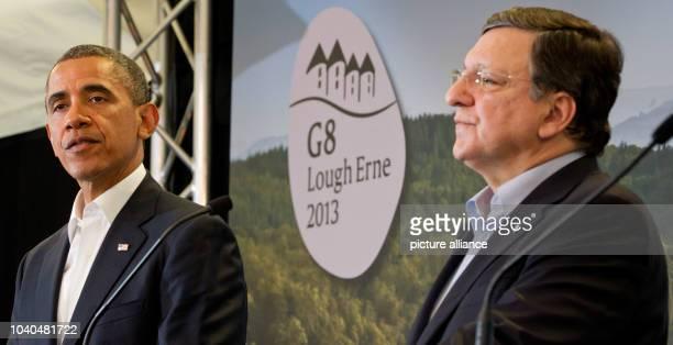 USPräsident Barack Obama und EuKommissionspräsident Jose Manuel Barroso geben am auf dem G8Gipfel in Enniskillen Nordirland Großbritannien eine...