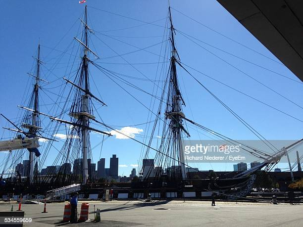 Uss Constitution Moored At Charlestown Navy Yard Against Blue Sky