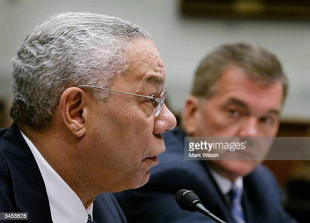 Secretary of State Colin Powell and Homeland Security Director Tom Ridge testifiy before a the House Judiciary Committee on Capitol Hill, April 21,...