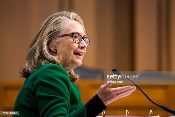 USSecretary of State Hillary Clinton testifies on the September attack on US diplomatic sites in Benghazi Libya during a hearing held by the US...