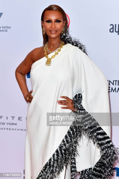 USSomali fashion model Iman arrives for the 47th Annual International Emmy Awards at New York Hilton on November 25 2019 in New York City The...