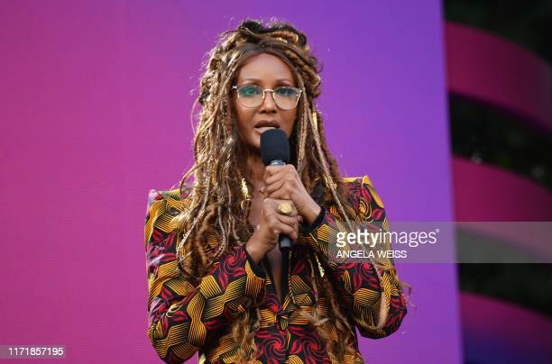 USSomali model and actress Iman speaks onstage at the 2019 Global Citizen Festival Power The Movement in Central Park in New York on September 28 2019